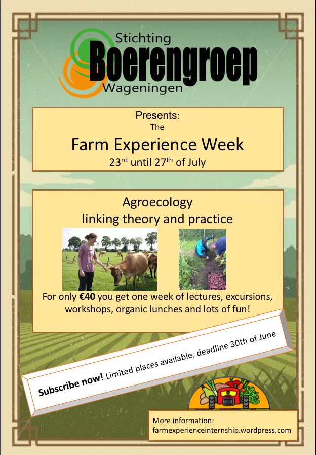 farm experience week poster